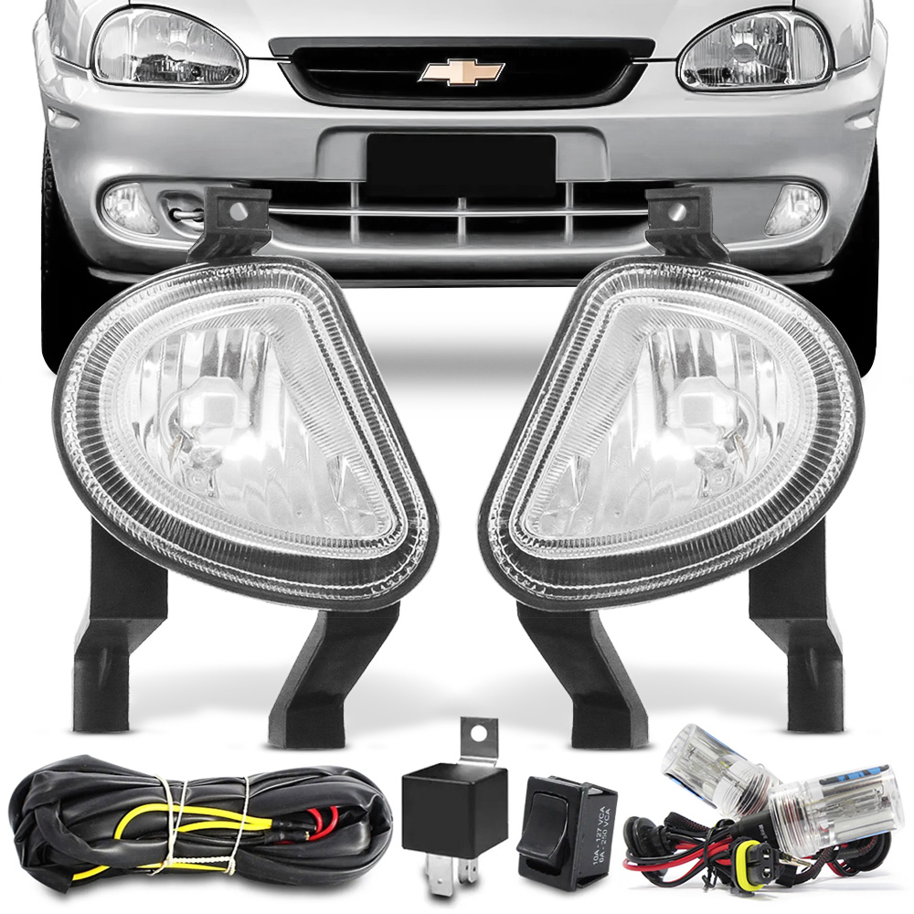 Kit Farol Milha Corsa Hatch Wagon Pickup Sedan 2000 a 2002 Classic 2003 a 2009 + Kit Xenon