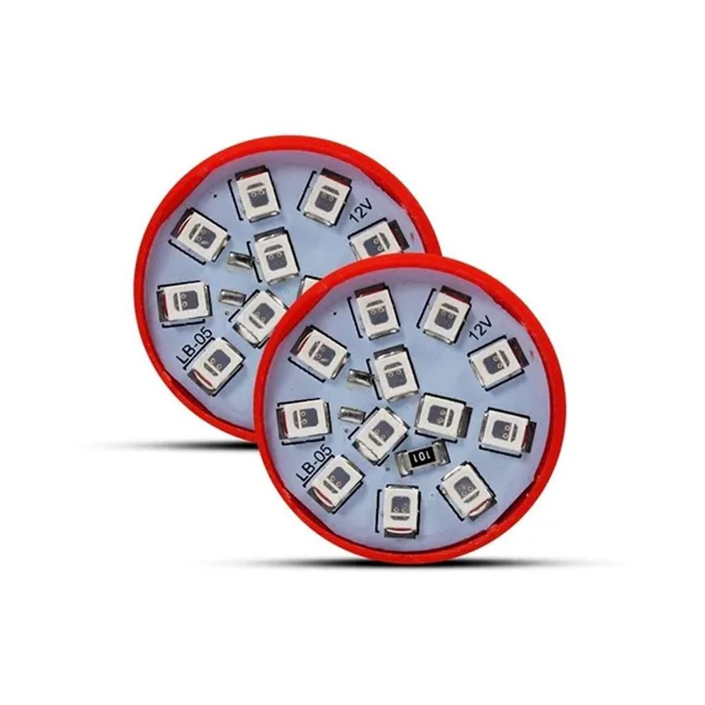 Par Lampada Led Luz Vermelha 12 Leds Lanterna Freio 1 Polo 24v 1W