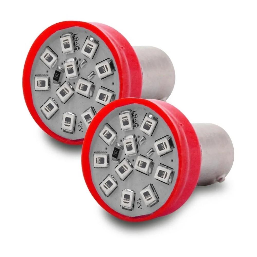 Par Lampada Led Luz Vermelha 12 Leds Lanterna Freio 2 Polos 5/21W 12V