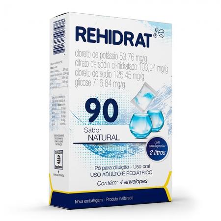 Rehidrat 90 po sabor natural 4 envelopes