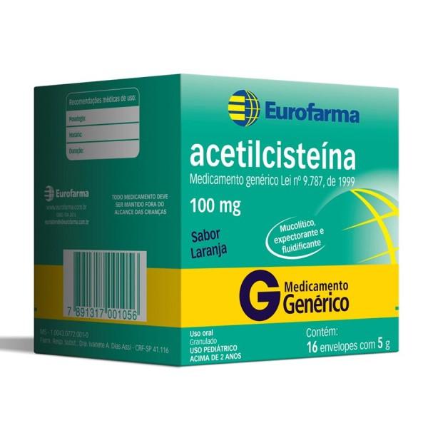 Acetilcisteina 100mg 16 Envelopes Eurofarma
