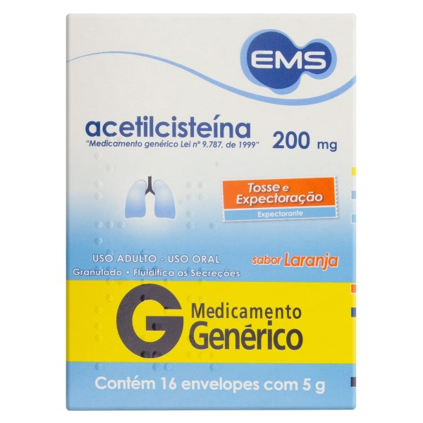 ACETILCISTEINA 200MG 16 ENVELOPES EMS