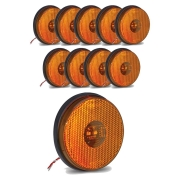 10 Lanternas Lateral Redonda Carreta Led Bivolt Amarela