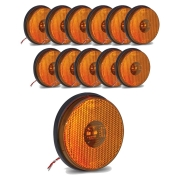 12 Lanternas Lateral Redonda Carreta Led Bivolt Amarela