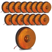 16 Lanternas Lateral Redonda Carreta Led Bivolt Amarela