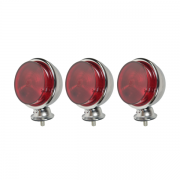 3 Lanterna Foguinho Vermelha Alta Cromada Carreta Caminhão