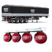 4 Lanterna Foguinho Vermelha Com Suporte De Ferro Cromado Carreta