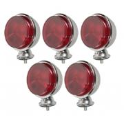5 Lanterna Foguinho Vermelha Alta Cromada Carreta Caminhão