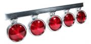 5 Lanterna Foguinho Vermelha Com Suporte De Ferro Cromado