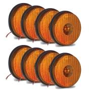 8 Lanternas Lateral Redonda Carreta Led Bivolt Amarela