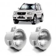 Par Farol de Milha Mitsubishi Pajero TR4 2004 a 2007 Lente Vidro Estriada