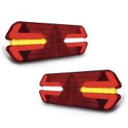 Par Lanterna traseira Universal Carreta Triplo X Led 24V