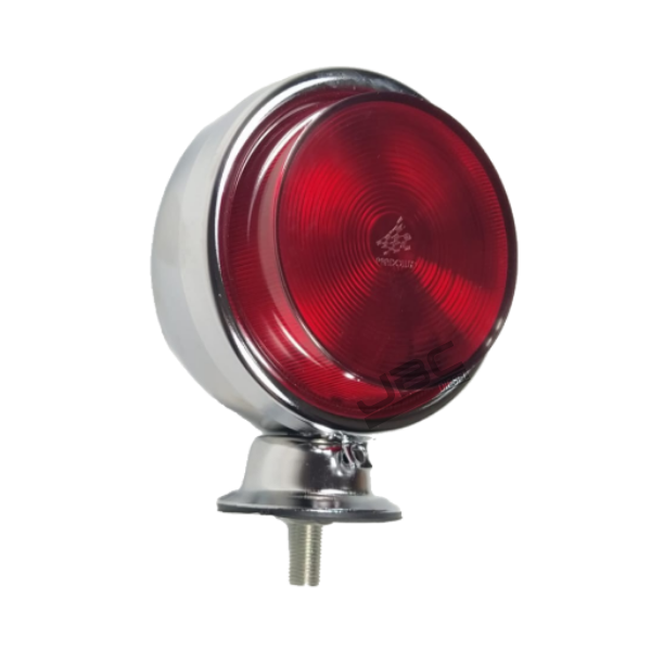 2 Lanterna Foguinho Vermelha Alta Cromada Carreta Caminhão