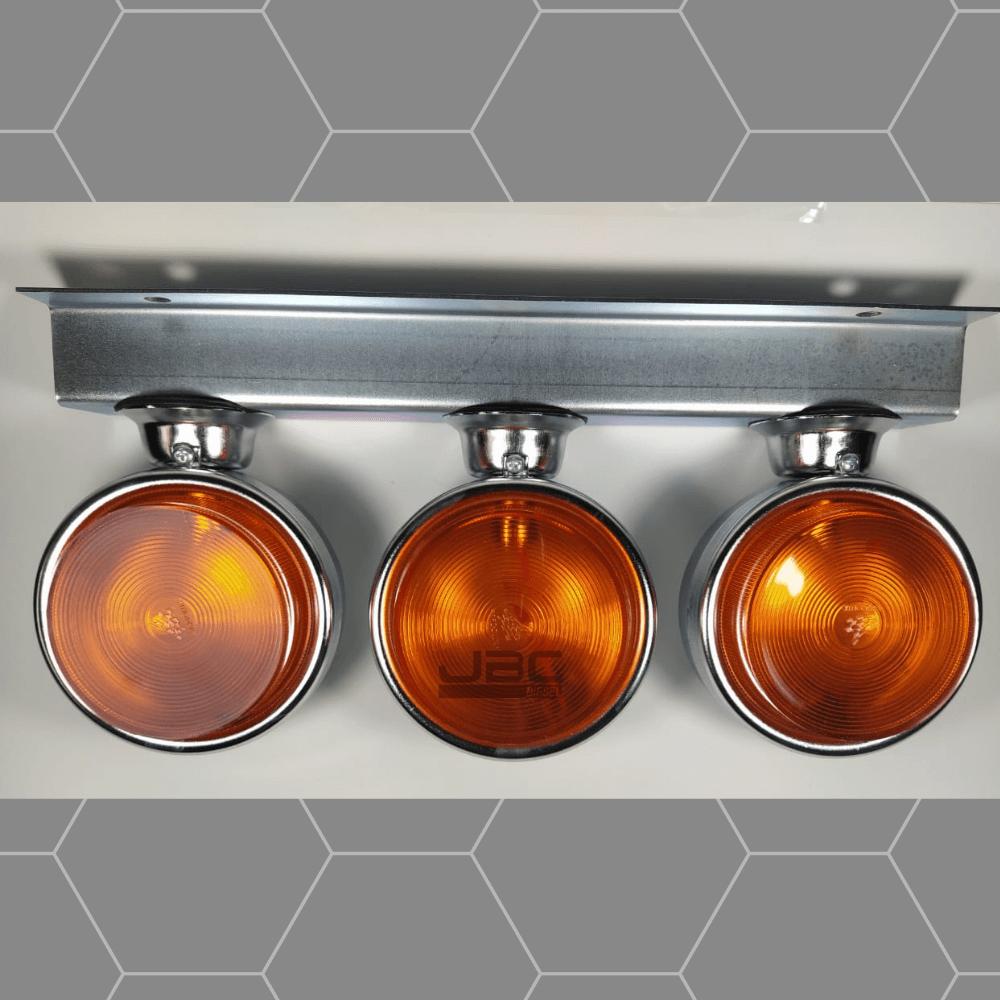 3 Lanterna Foguinho Amarelo Com Suporte De Ferro Cromado Jbc