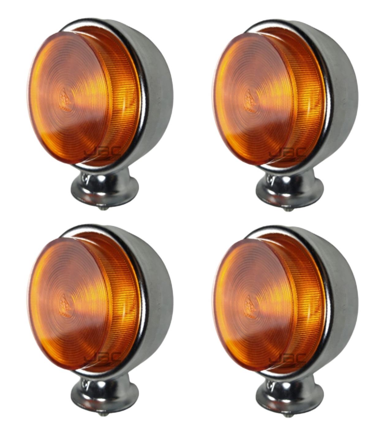 4 Lanterna Foguinho Amarela Alta Cromada Carreta Caminhão
