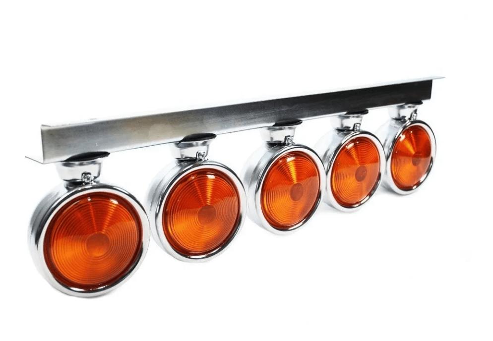 5 Lanterna Foguinho Amarelo Com Suporte De Ferro Cromado Jbc