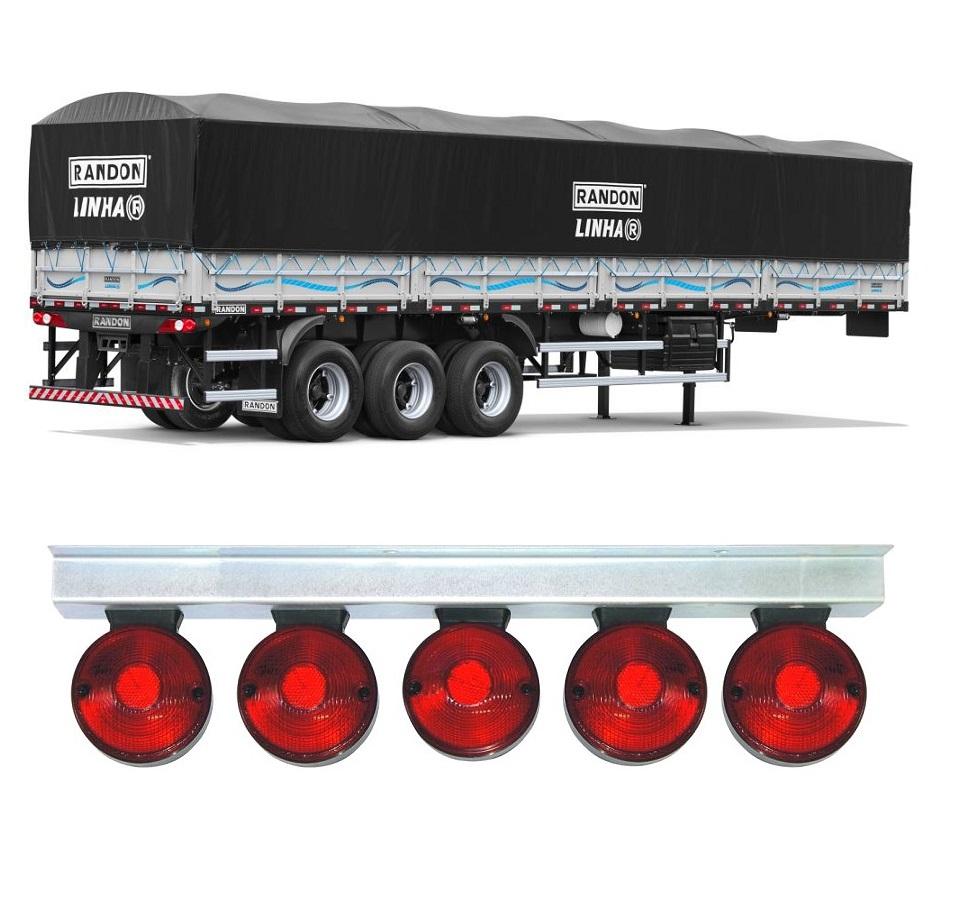 5 Lanterna Foguinho Vermelha Com Suporte De Ferro Cromado Carreta
