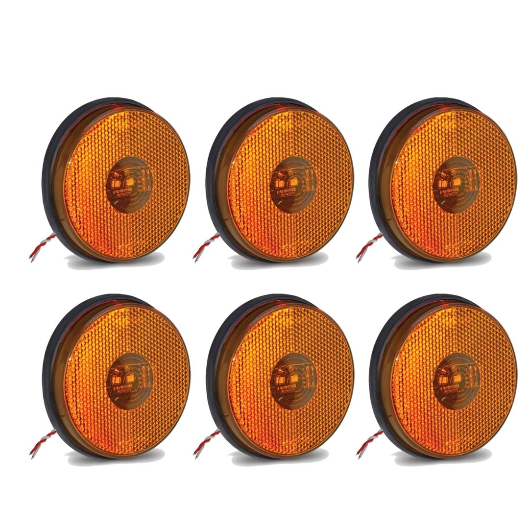 6 Lanternas Lateral Redonda Carreta Led Bivolt Amarela