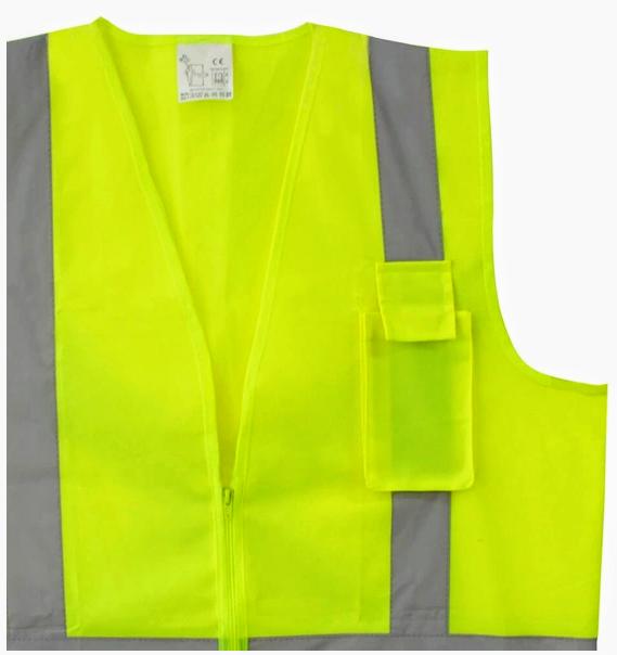 Colete Segurança Refletivo Com Ziper e Bolso Laranja Ou Amarelo Fluorescente