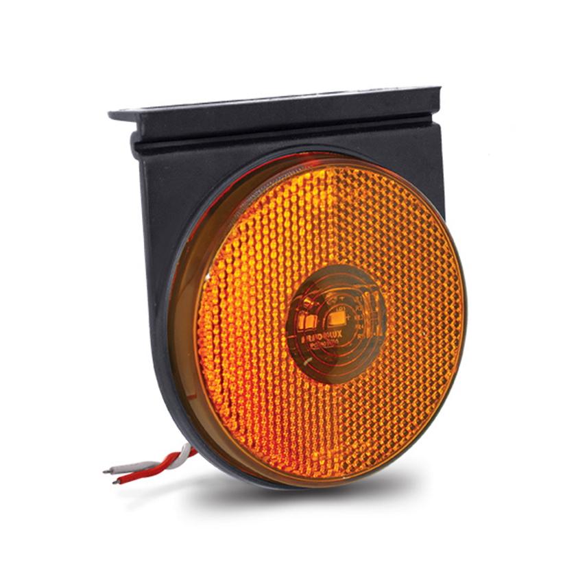 Lanterna Lateral Blindada Redonda Led Bivolt 12V 24V Amarela com Suporte