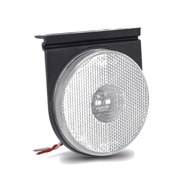 Lanterna Lateral Blindada Redonda Led Bivolt 12V 24V Cristal com Suporte