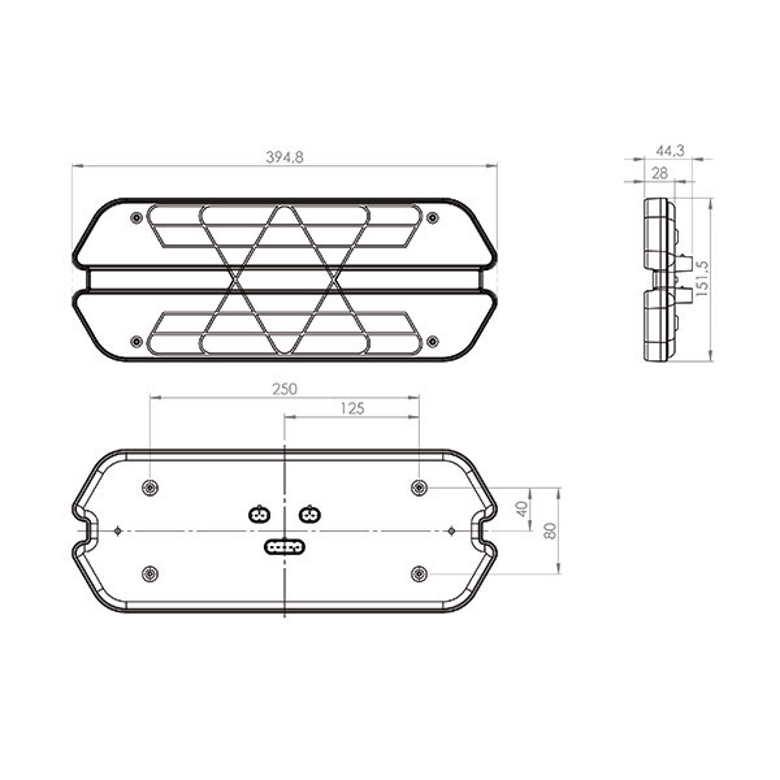 Lanterna traseira Universal Carreta Triplo X Led 12V Lado Direito