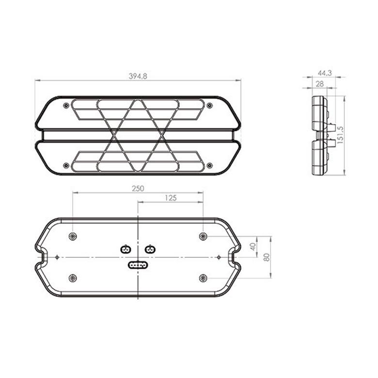 Lanterna traseira Universal Carreta Triplo X Led 24V Lado Direito