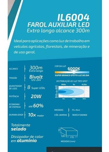Farol De Milha Led Retangular 8 Super Leds 20w