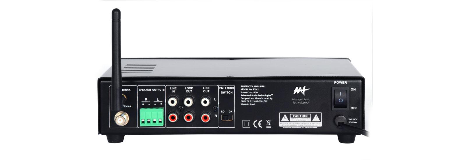 AAT BTA-2 - Receiver estéreo compacto com Bluetooth, Rádio FM, Entrada para  Pen-drive e entrada auxiliar.  - Audio Video & cia