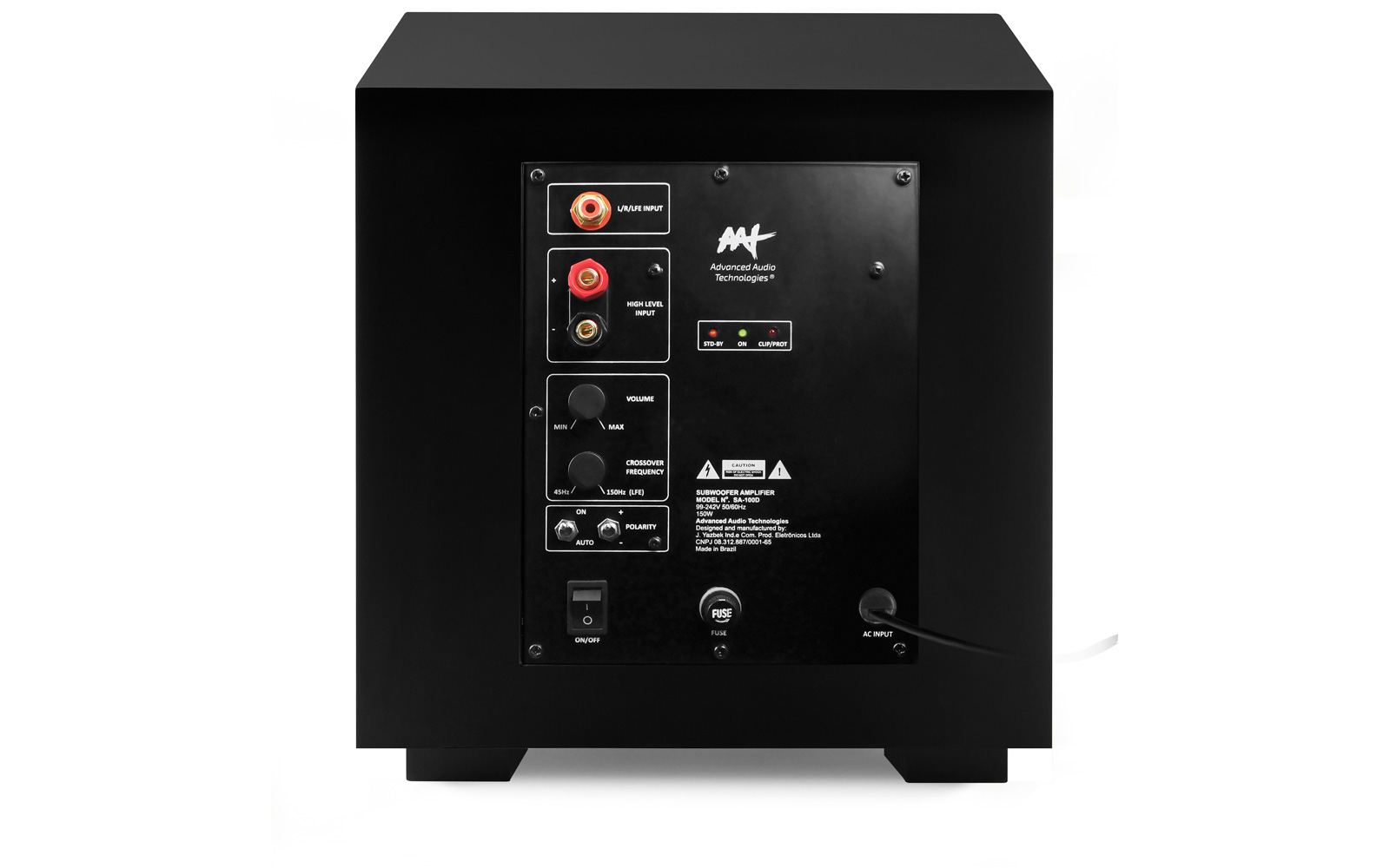 "AAT Compact Cube 10 Subwoofer ativo 10"" com 240W RMS Preto  - Audio Video & cia"