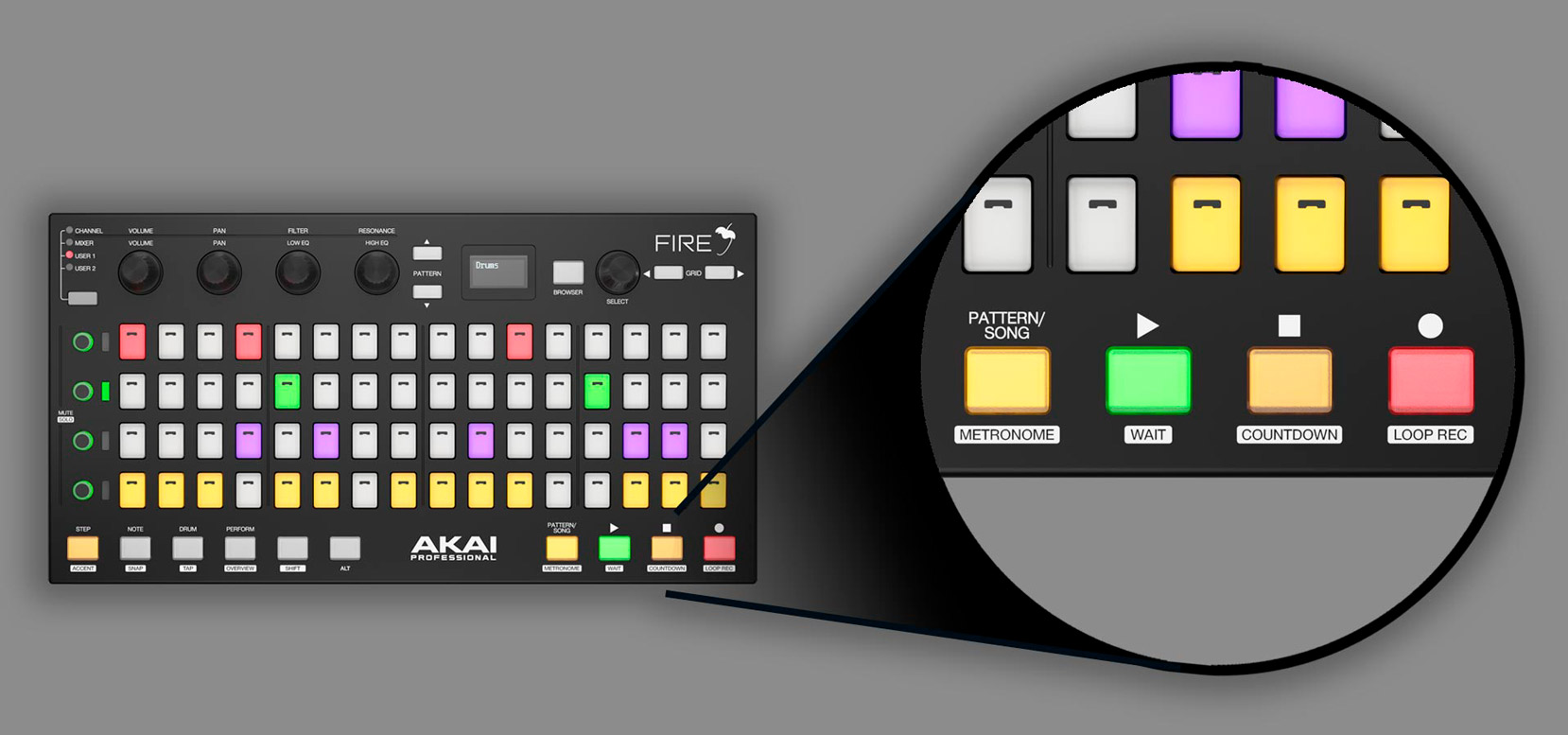 AKAI Fire Controladora Midi USB  - Audio Video & cia