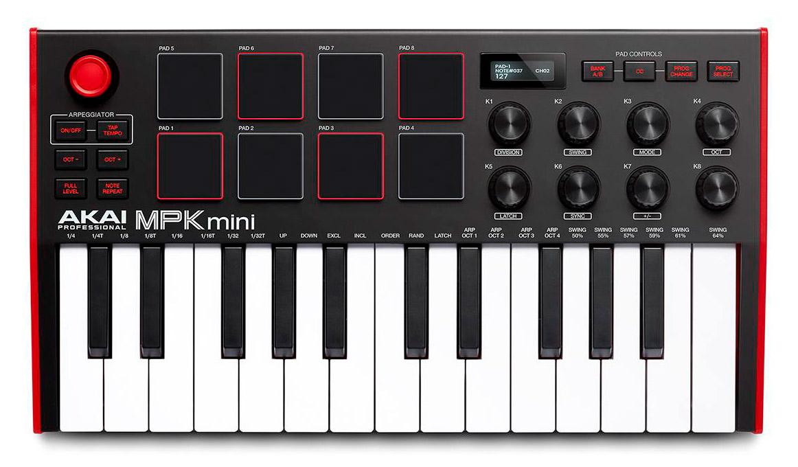 AKAI MPK Mini mk3  Teclado Controlador Midi Usb - Preto  - Audio Video & cia