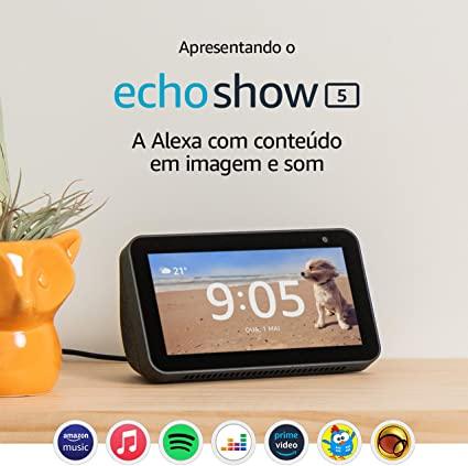 Amazon Echo Show 5 - Caixa Portátil  Bluetooth com LCD e Assistente Alexa  - Audio Video & cia