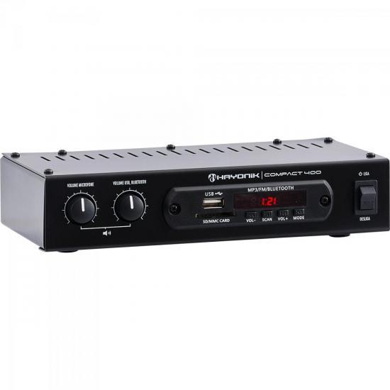 Amplificador 40W RMS com Bluetooth COMPACT 400 HAYONIK  - Audio Video & cia