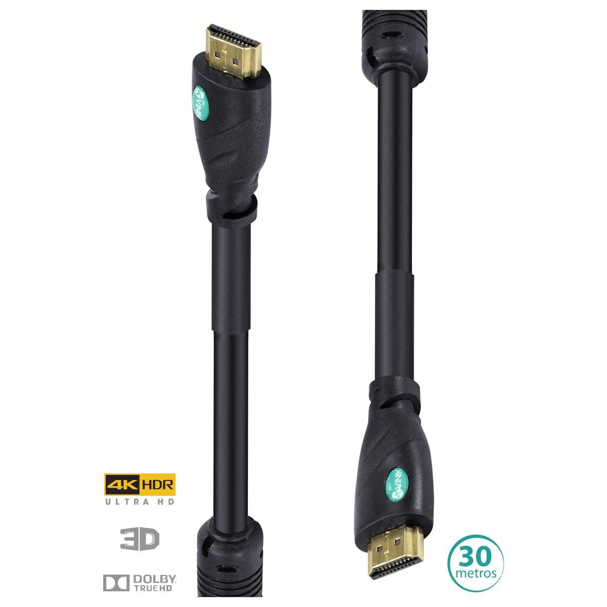 CABO HDMI 2.0 4K ULTRA HD 3D CONEXÃO ETHERNET COM FILTRO 30 METROS - H20F-30  - Audio Video & cia