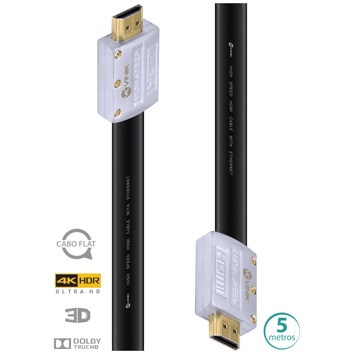 CABO HDMI 2.0 4K ULTRA HD 3D CONEXÃO ETHERNET FLAT COM CONECTOR DESMONTÁVEL 5 METROS - H20FL-5  - Audio Video & cia