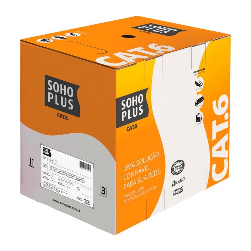 CABO LAN U/UTP 24AWG X 4 PARES CAT.6 CMX 305 METROS PRETO  - Audio Video & cia