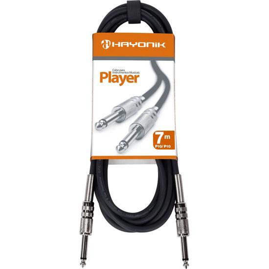 Cabo para Instrumentos P10 x P10 7m PLAYER Preto HAYONIK  - Audio Video & cia
