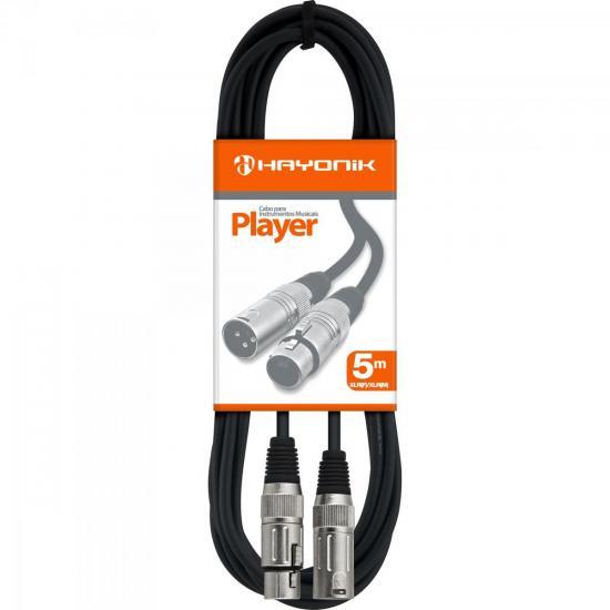 Cabo para Microfone XLR(F) X XLR(M) 5m PLAYER Preto HAYONIK  - Audio Video & cia