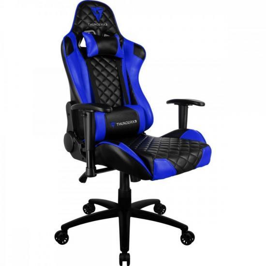 Cadeira Gamer Profissional TGC12 Preta/Azul THUNDERX3  - Audio Video & cia
