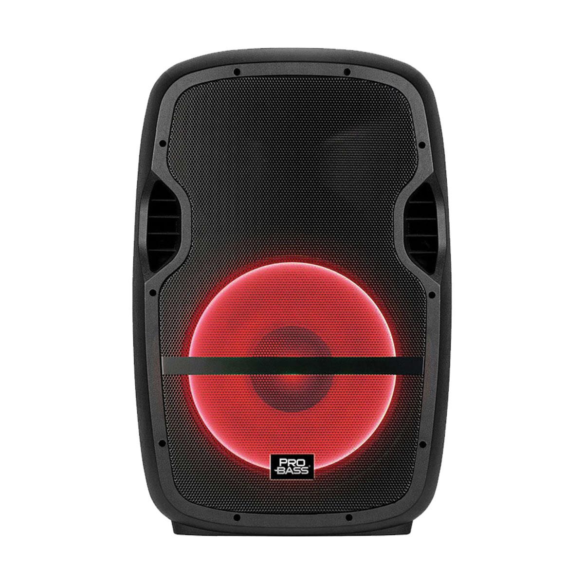 """CAIXA AMPLIFICADA ELEVATE LP USB/SD/BT 15"""""""" 200W, ACOMPANHA SUPORTE, MICROFONE COM FIO, CONTROLE REMOTO, LED  - Audio Video & cia"""