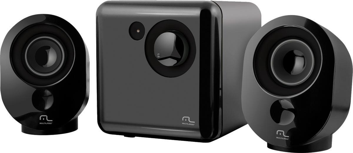 CAIXA DE SOM 2.1 PRETO E GRAFITE USB SP166  - Audio Video & cia
