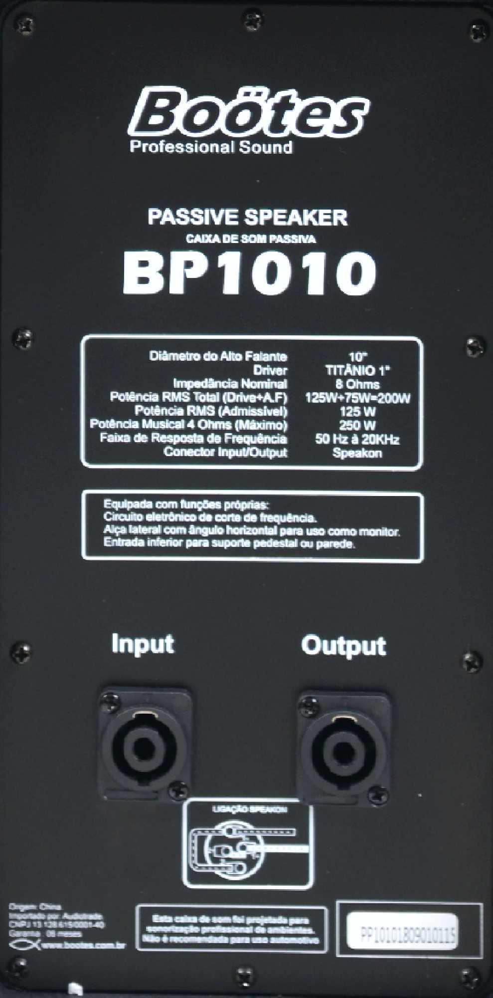 CAIXA DE SOM PASSIVA BOOTES BP-1010  A.F. 10 POL+DTI  250W/MUS  - Audio Video & cia