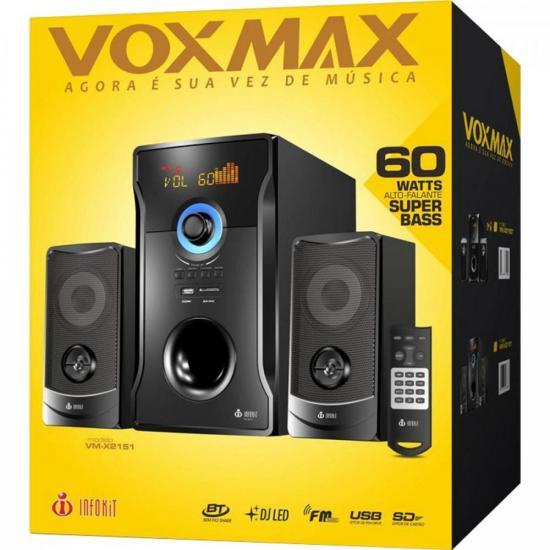Caixa de Som Speakers Bluetooth com Subwoofer VM-X2151 Preta EXBOM  - Audio Video & cia