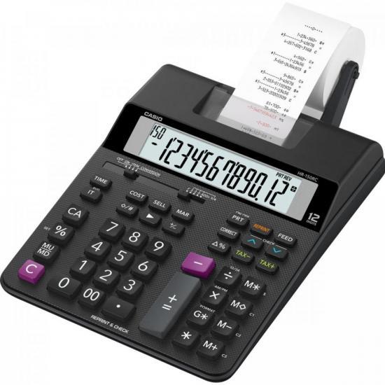 Calculadora com Bobina Compacta HR150RC-B Preta CASIO  - Audio Video & cia
