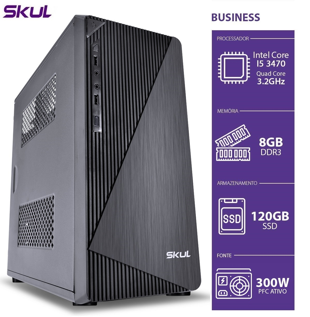COMPUTADOR BUSINESS B500 - I5 3470 3.2GHZ 3ªGER MEM 8GB DDR3 SSD 120GB HDMI/VGA FONTE 300W  - Audio Video & cia