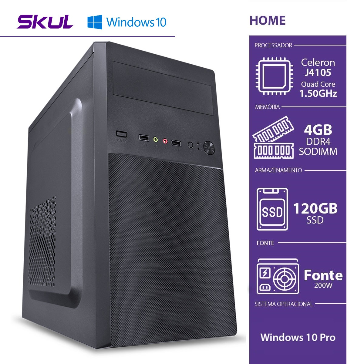 COMPUTADOR HOME H100 - CELERON QUAD CORE J4105 1.50GHZ 4GB DDR4 SODIMM SSD 120GB HDMI/VGA FONTE 200W WINDOWS 10 PRO  - Audio Video & cia