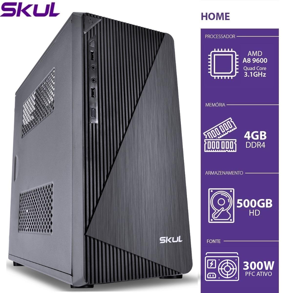 COMPUTADOR HOME H200 - AMD A8 9600 3.1GHZ 4GB DDR4 HD 500GB HDMI/VGA FONTE 300W  - Audio Video & cia