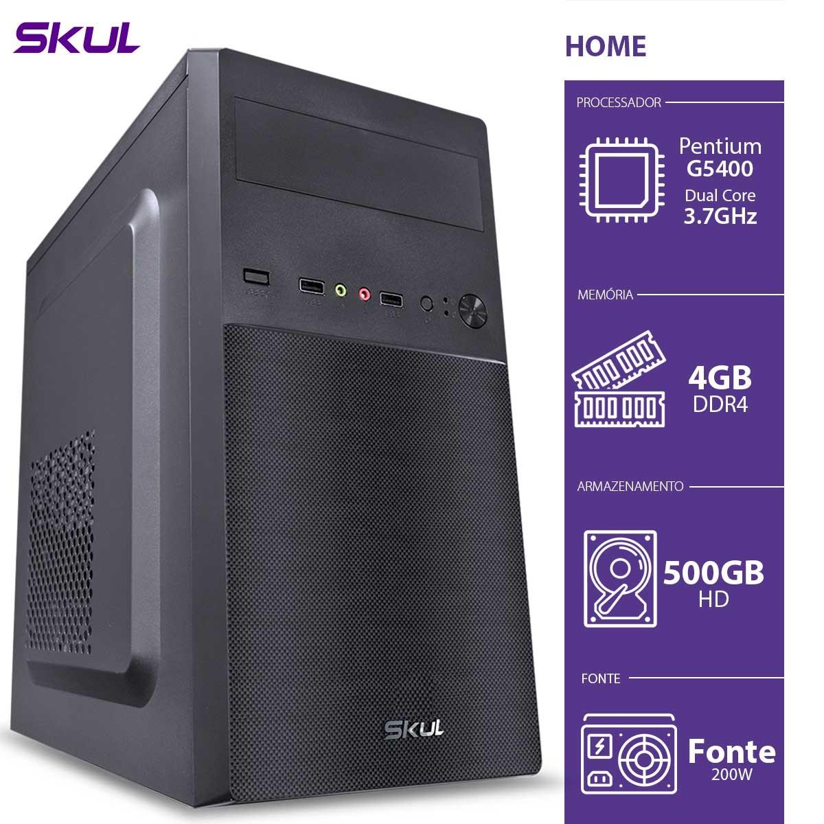 COMPUTADOR HOME H200 - PENTIUM DUAL CORE G5400 3.7GHZ MEM 4GB DDR4 HD 500GB HDMI/VGA FONTE 200W  - Audio Video & cia