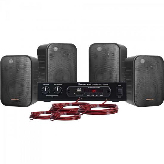 Kit Som Ambiente 400W Musical AMBIENCE 4000 Preto HAYONIK  - Audio Video & cia